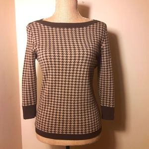Talbots brown houndstooth boatneck wool sweater